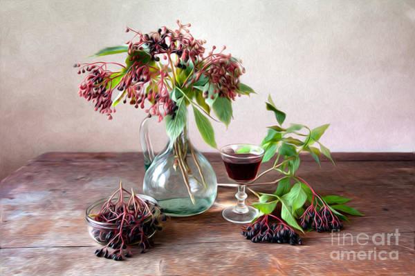 Small Painting - Elderberries 02 by Nailia Schwarz