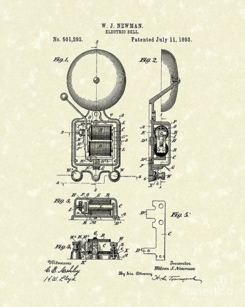 Drawing - Electric Bell 1893 Patent Art by Prior Art Design