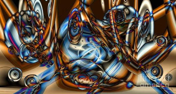 Merge Digital Art - Electric Blue by Ron Bissett