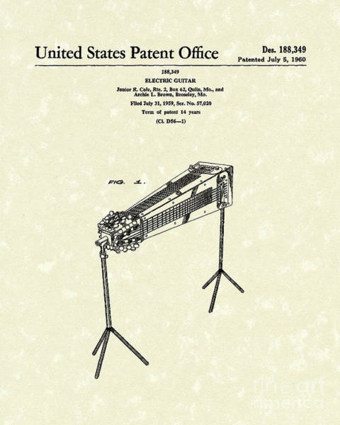 Rock Music Drawing - Electric Guitar 1960 Patent Art  by Prior Art Design
