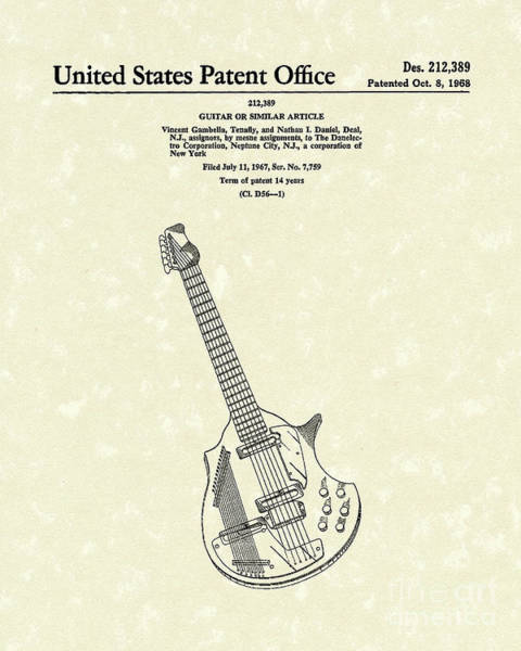 Drawing - Electric Guitar 1968 Patent Art  by Prior Art Design