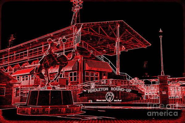 Photograph - Electric Night Rodeo - Digital Art by Carol Groenen