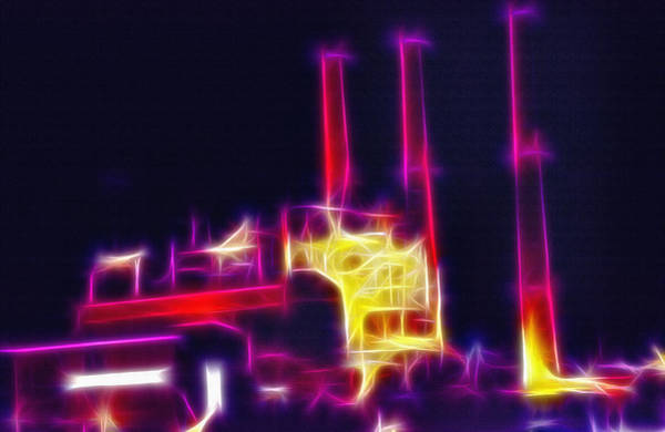 Wall Art - Photograph - Electric Power Plant At Night  by Steve Ohlsen