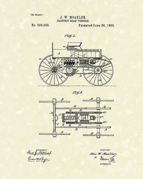 Vehicle Drawing - Electric Road Vehicle 1893 Patent Art by Prior Art Design