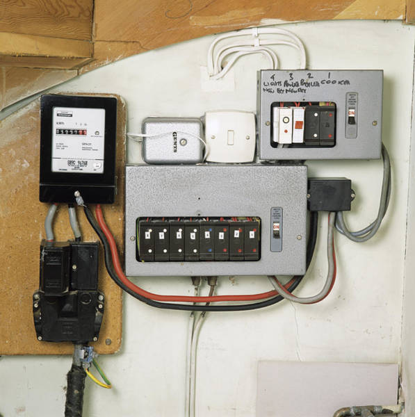 Light Box Photograph - Electricity Meter And Fuse Boxes by Sheila Terry
