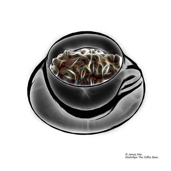 Digital Art - Electrifyin The Coffee Bean - Greyscale by James Ahn