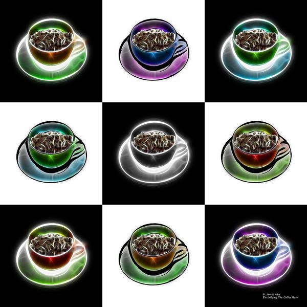 Digital Art - Electrifyin The Coffee Bean - Mosaic Version 1 by James Ahn