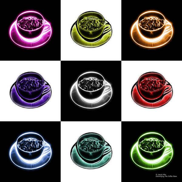 Digital Art - Electrifyin The Coffee Bean - Mosaic Version 4 by James Ahn