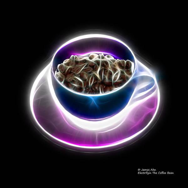 Digital Art - Electrifyin The Coffee Bean -version Blue by James Ahn