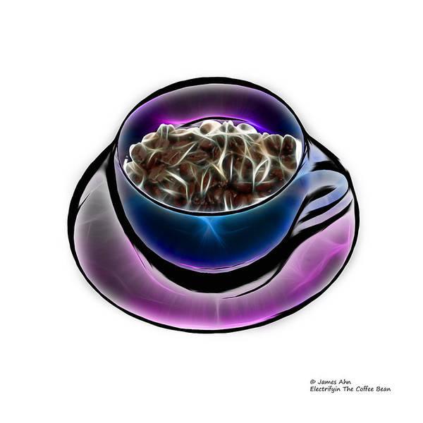 Digital Art - Electrifyin The Coffee Bean -version Blue Wb by James Ahn