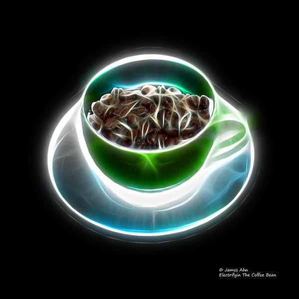 Digital Art - Electrifyin The Coffee Bean -version Green by James Ahn