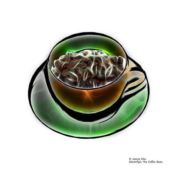 Digital Art - Electrifyin The Coffee Bean -version Orange Wb by James Ahn