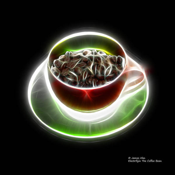 Digital Art - Electrifyin The Coffee Bean -version Red by James Ahn