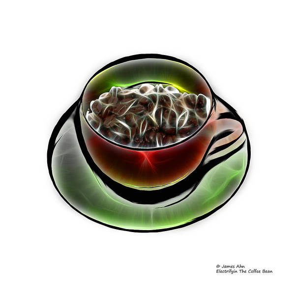 Digital Art - Electrifyin The Coffee Bean -version Red Wb by James Ahn
