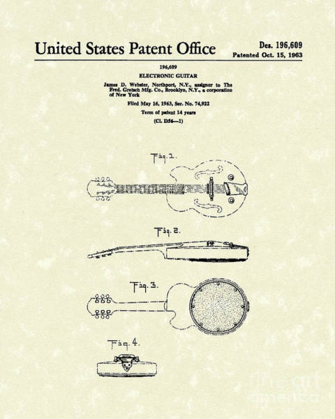 Rock Music Drawing - Electronic Guitar 1963 Patent Art  by Prior Art Design