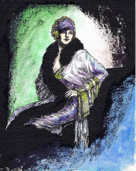 Flappers Drawing - Elegant Lady by Mel Thompson