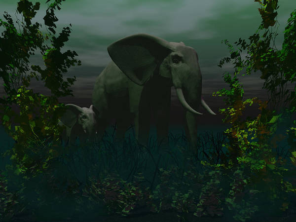 Aira Wall Art - Digital Art - Elephant And Calf by Tea Aira