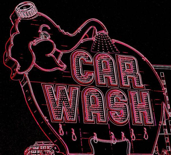 Car Wash Photograph - Elephant Car Wash Neon by Randall Weidner