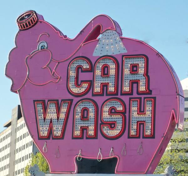 Car Wash Photograph - Elephant Car Wash by Randall Weidner