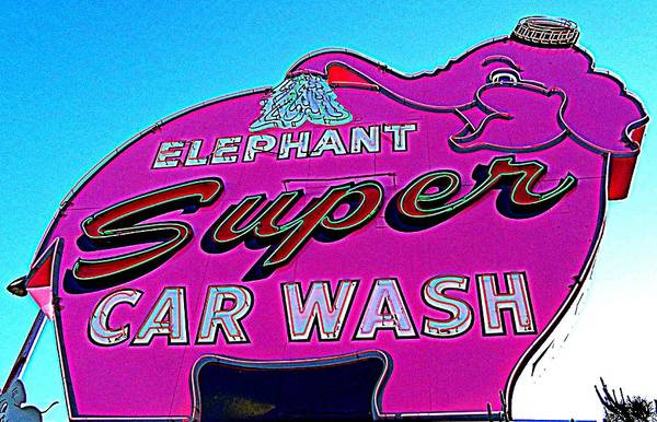 Car Wash Photograph - Elephant Super Car Wash Boost by Randall Weidner
