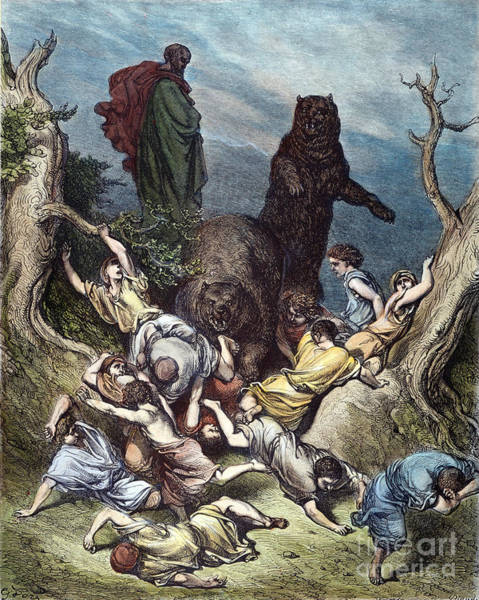 Drawing - Elisha And The She-bears by Gustave Dore