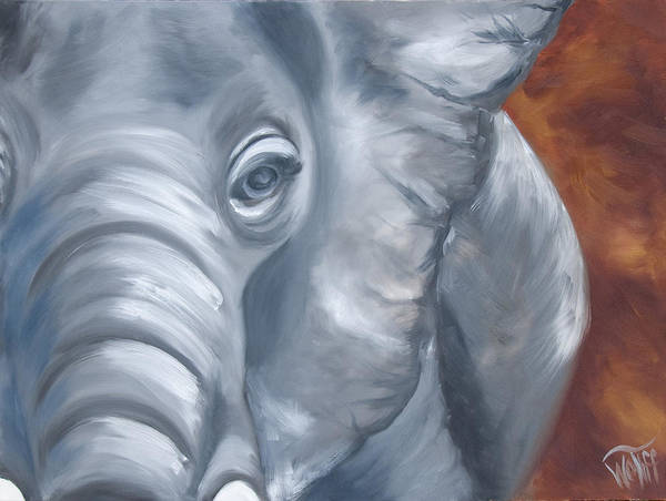 Rhinocerus Painting - Ellie by Thea Wolff