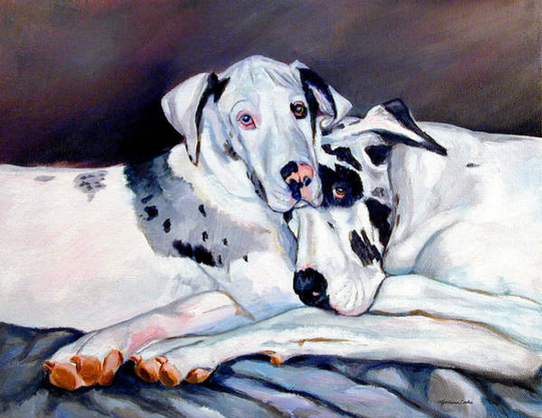 Great Dane Painting - Embrace by Lyn Cook