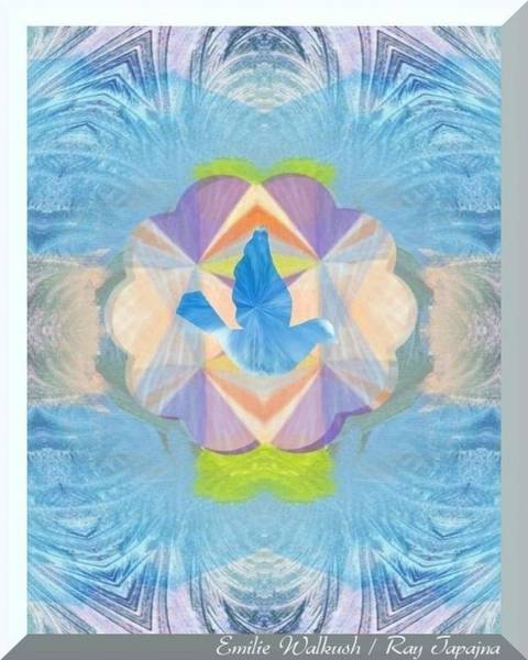Mixed Media - Emilie Healing In Blue by Ray Tapajna