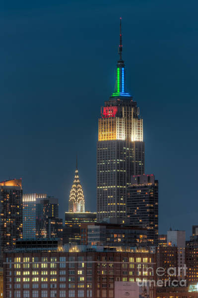 Photograph - Empire State And Chrysler Buildings At Twilight IIi by Clarence Holmes