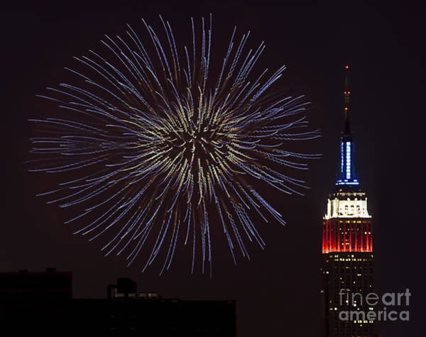 Fireworks Show Wall Art - Photograph - Empire State Fireworks by Susan Candelario