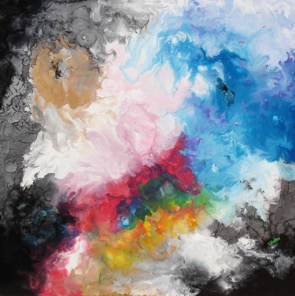 Star Formation Painting - Encaustic Nebula by Lisa Kramer