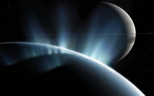 Planets And Moons Digital Art - Enceladus, Computer Artwork by Mark Garlick/spl