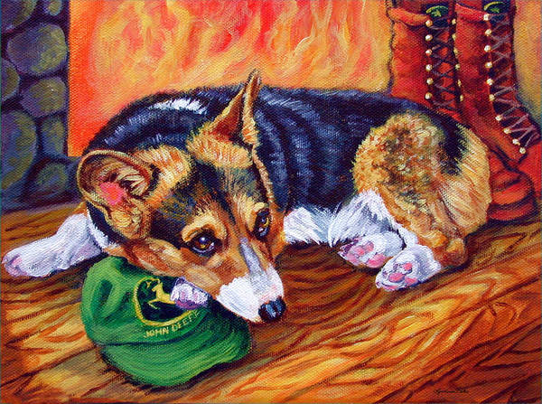 Wall Art - Painting - End Of The Day - Pembroke Welsh Corgi by Lyn Cook