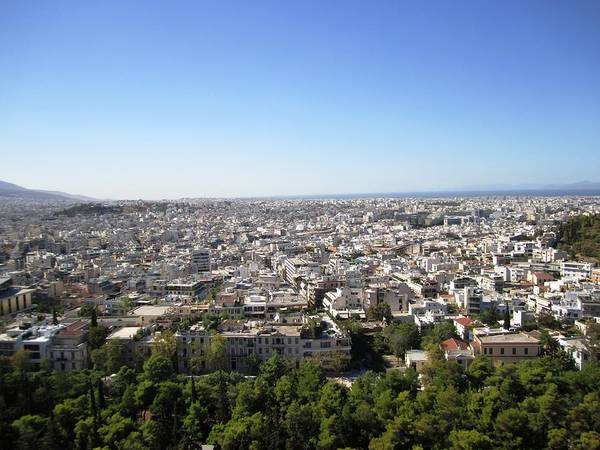 Photograph - Endless View Of Athens From The South Slope Of Acropolis Parthenon Hilltop With Blue Sky In Greece by John Shiron