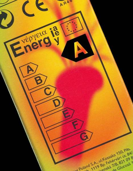 Light Box Photograph - Energy Efficiency Rating Label by Sheila Terry