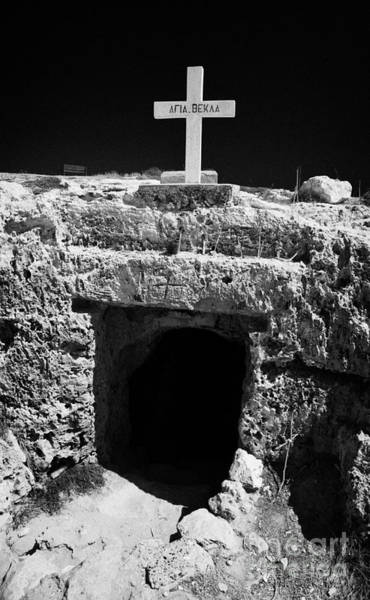 Wall Art - Photograph - Entrance To The Underground Old Church At Ayia Thekla Republic Of Cyprus Europ by Joe Fox