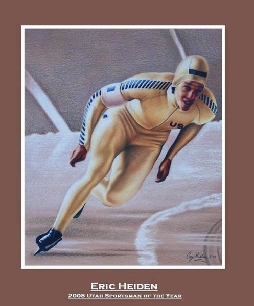 Gold Medal Drawing - Eric Heiden by Cory McKee
