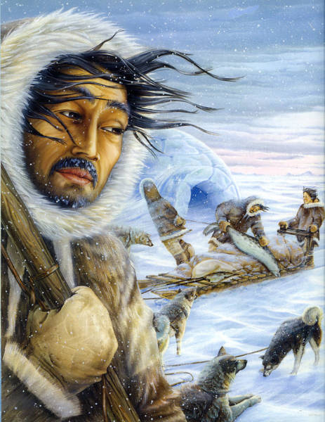 Husky Mixed Media - Eskimo Hunt by Anne Wertheim