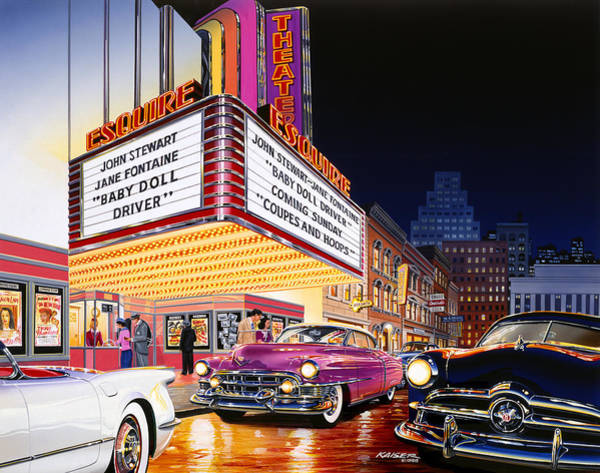 City Scape Photograph - Esquire Theater by MGL Meiklejohn Graphics Licensing
