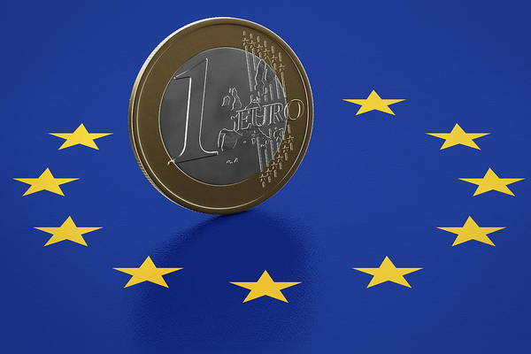 Silver And Gold Digital Art - Euro Coin Standing On European Union Flag by Bjorn Holland