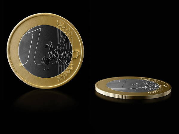 Silver And Gold Digital Art - Euro Coins On Reflective Black Background by Bjorn Holland