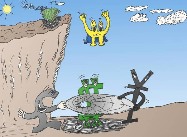 Ant Mixed Media - Euroman Tombant En Caricature by OptionsClick BlogArt