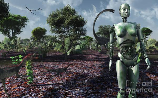Cyborg Digital Art - Eve Taking A Stroll Through The Garden by Mark Stevenson