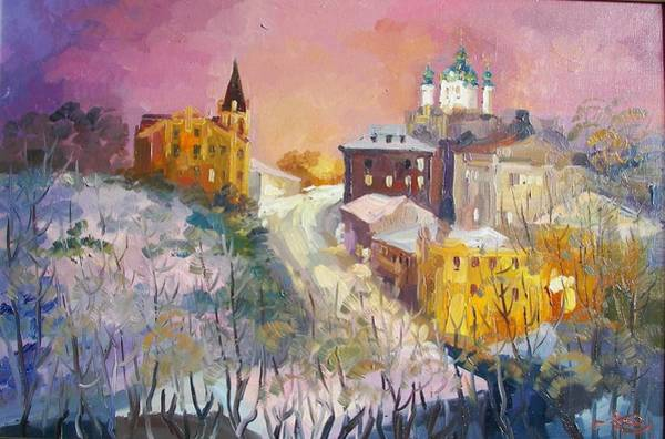 Follow Me Painting - Evening At The Andrew. Kiev by Anna Sokol