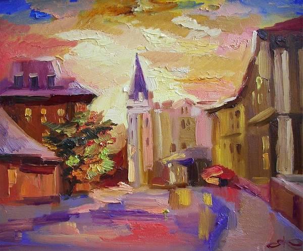 Follow Me Painting - Evening. City. Ukraine. Kiev by Anna Sokol