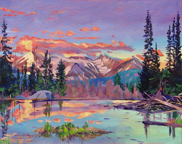 Mountain Lake Painting - Evening Serenity by David Lloyd Glover