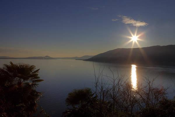 Lake Maggiore Photograph - evening sun over the Lake Maggiore by Joana Kruse
