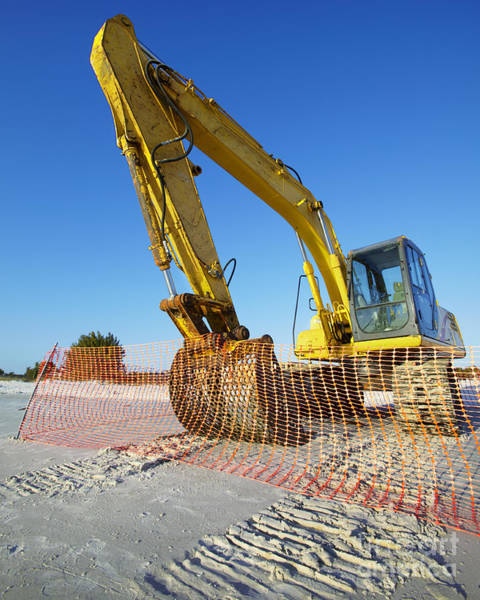 Excavator Photograph - Excavator On The Beach by Skip Nall