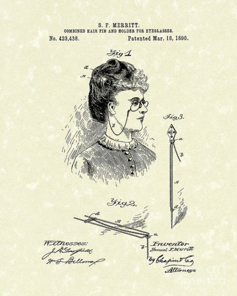 Drawing - Eyeglass Holder 1890 Patent Art by Prior Art Design