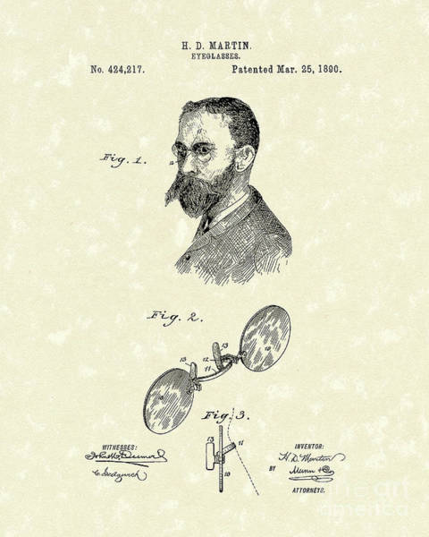 Drawing - Eyeglasses 1890 Patent Art by Prior Art Design
